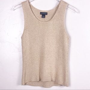 Ann Taylor Cream/Tan/Gold Cable Sweater Tank, S